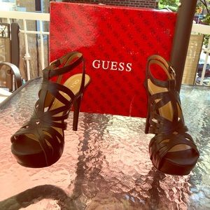 Guess black leather strappy heels 8M